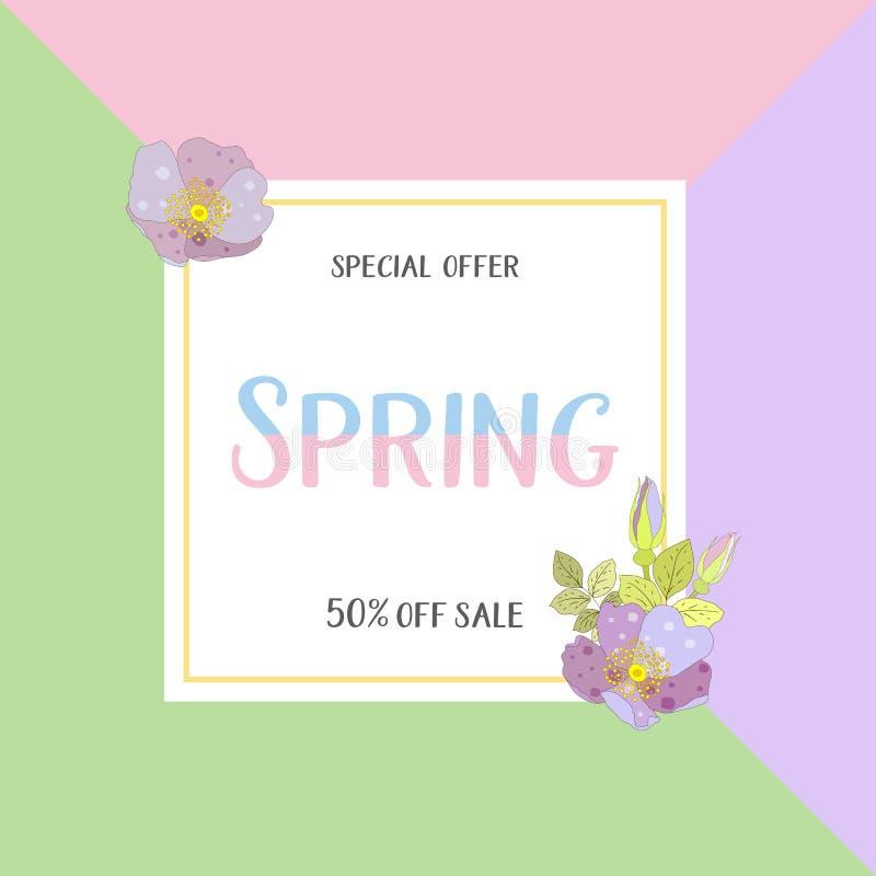 Wiosny sprzedaży sztandarów etykietki plakatowy projekt Projekt z Kolorowymi kwiatami w tle dla Sezonowej promoci samogłoski ilustracji