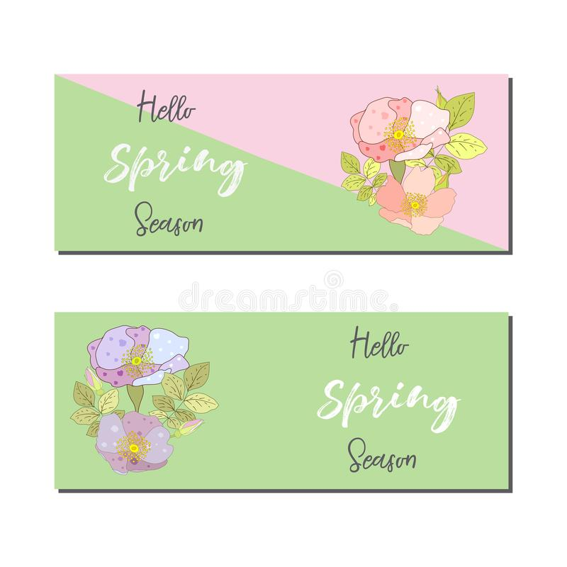 Wiosny sprzedaży sztandarów etykietki plakatowy projekt Projekt z Kolorowymi kwiatami w tle dla Sezonowej promoci samogłoski ilustracja wektor