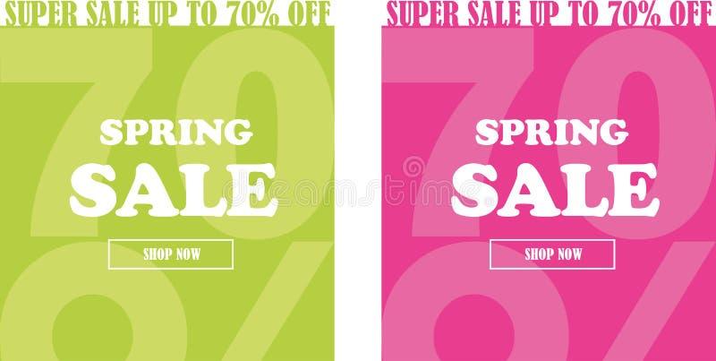 Wiosny sprzedaży sztandaru set up to 70% daleko ilustracji