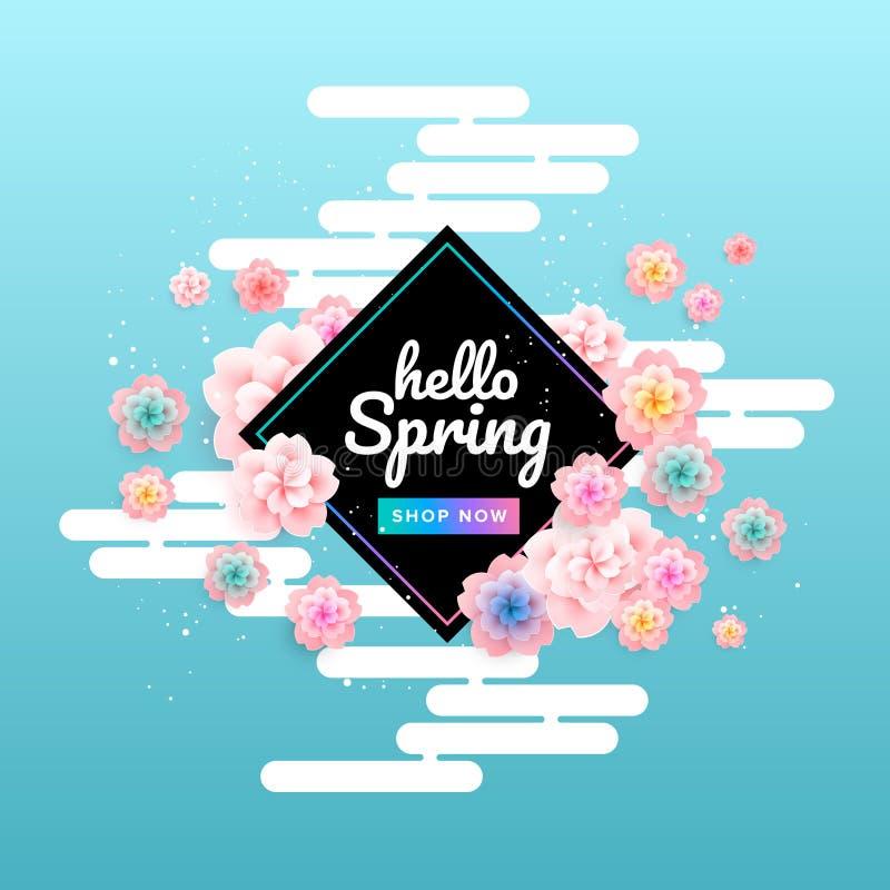Wiosny sprzedaży tła sztandaru sztuka z pięknym kolorowym kwiatem ilustracji