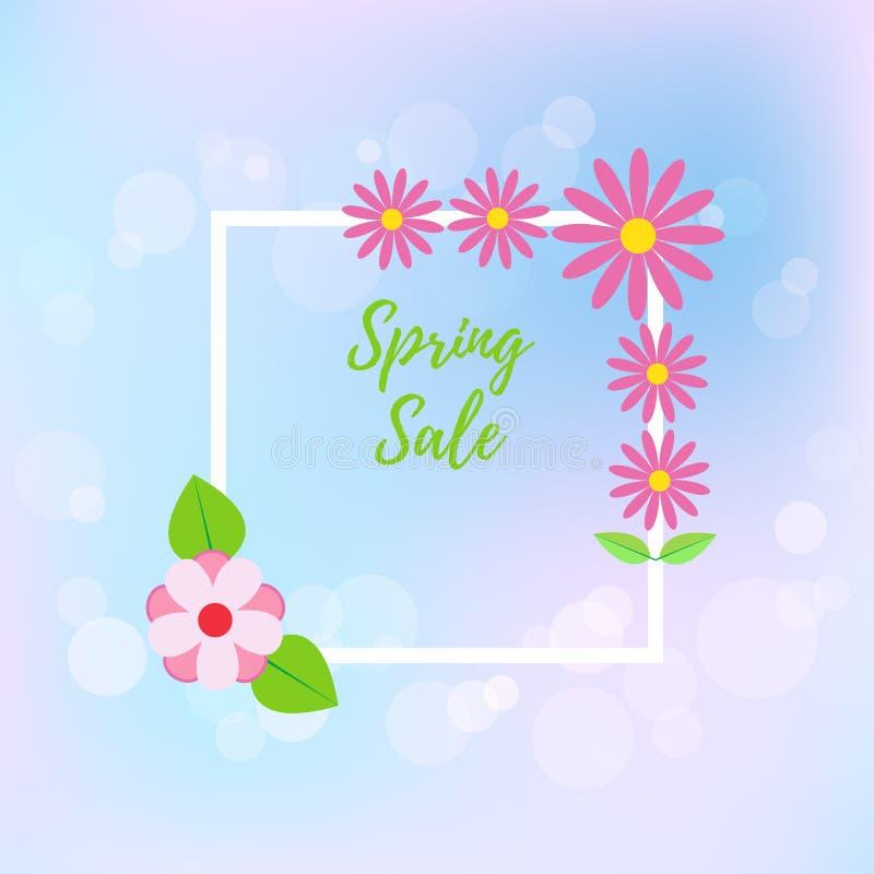 Wiosny sprzedaży ulotka na plamy tle również zwrócić corel ilustracji wektora ilustracja wektor