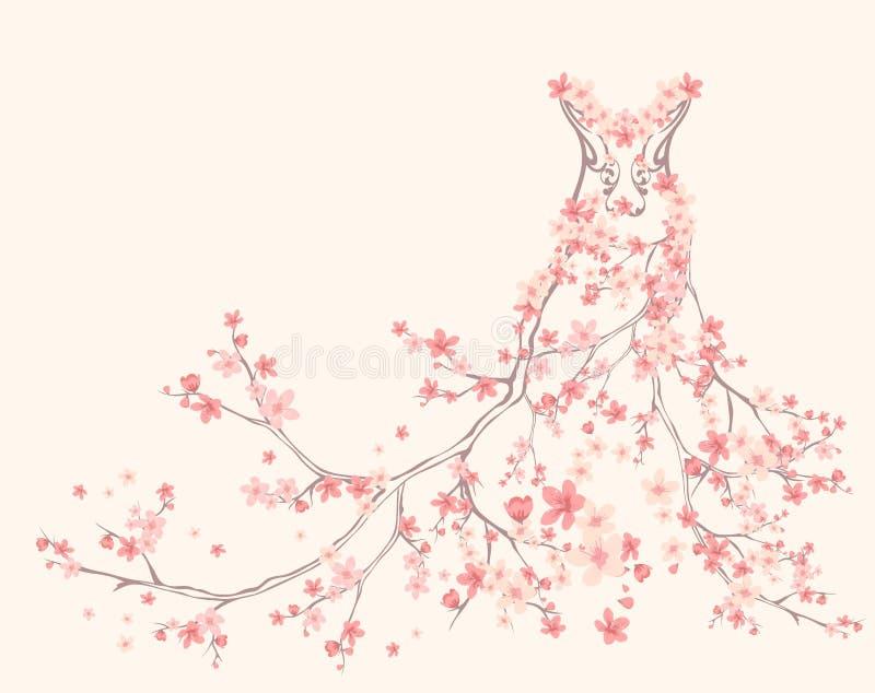 Wiosny suknia ilustracja wektor