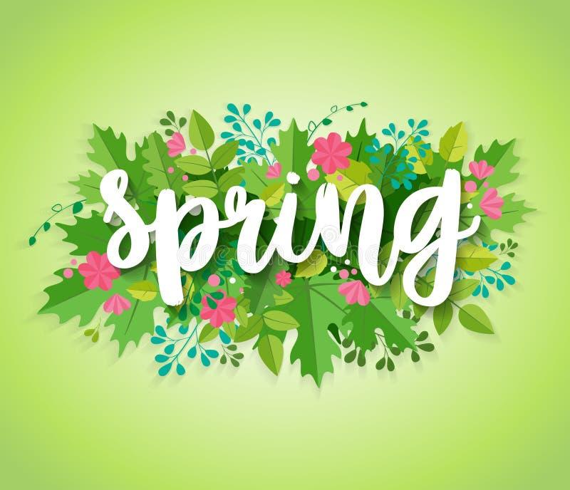 Wiosny tło z zieleń kwiatami i liśćmi royalty ilustracja