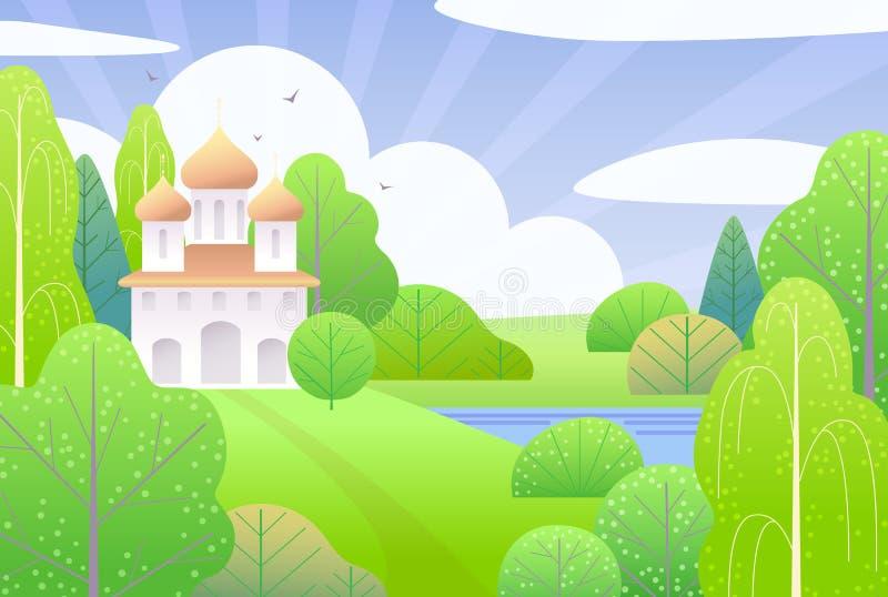 Wiosny tło z kościół i zieleni drzewami royalty ilustracja