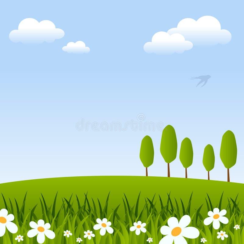Wiosny tło z kwiatami & drzewami ilustracja wektor
