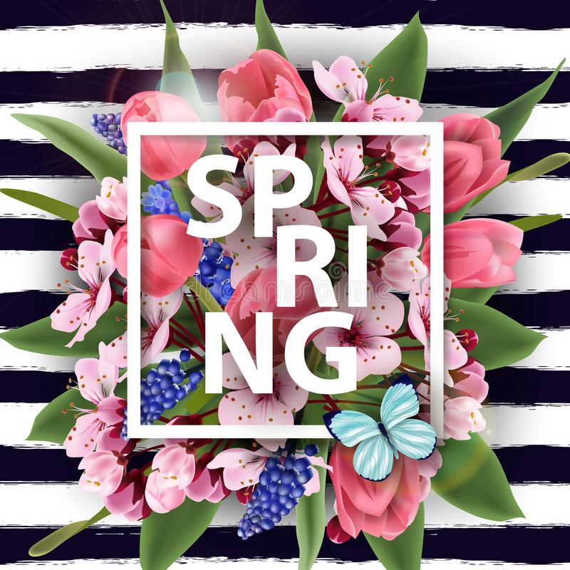 Wiosny tło z kwitnącymi wiosna kwiatami, menchia royalty ilustracja