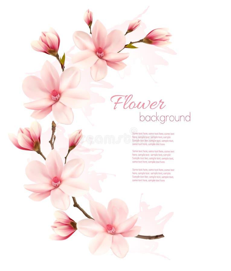 Wiosny tło z okwitnięcia śniadanio-lunch różowi kwiaty ilustracja wektor