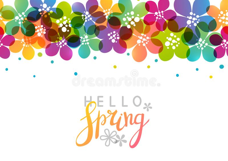Wiosny tło z wibrującymi kwiatami ilustracja wektor