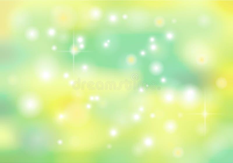 Wiosny wektorowego bokeh abstrakcjonistyczny tło w zielonym i żółtym colo ilustracji