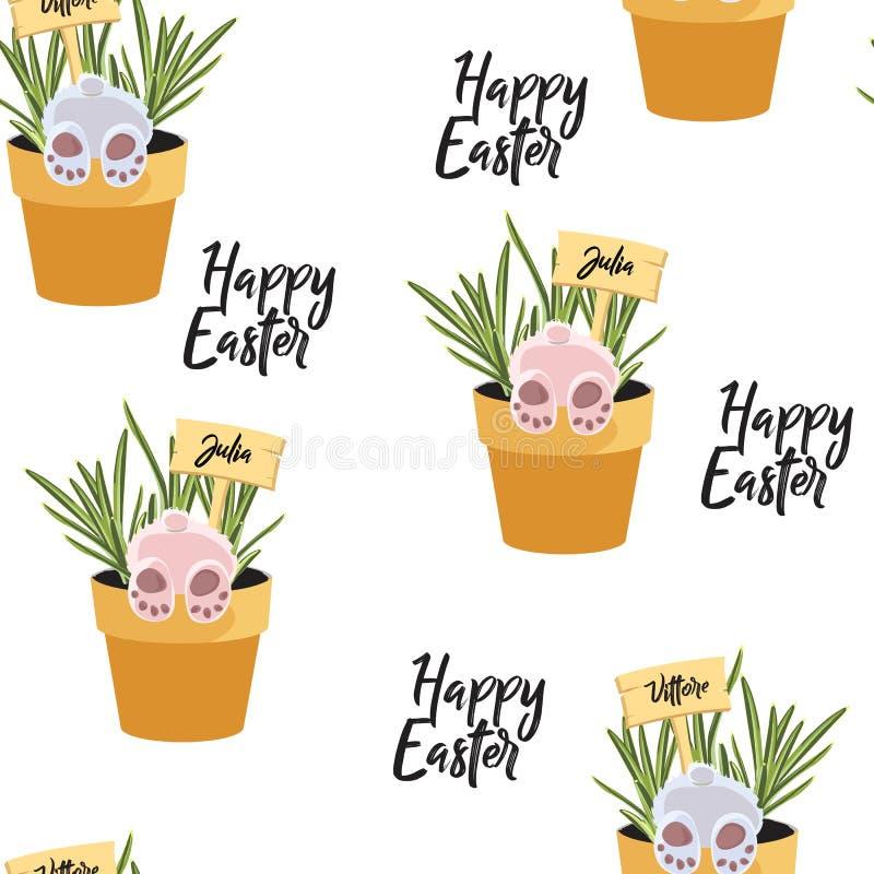 Wiosny wielkanocy bezszwowi Szczęśliwi wzory z zieleni gałązkami, gałąź, błękit, kolor żółty kwitną, jajka, królik w garnku ilustracji