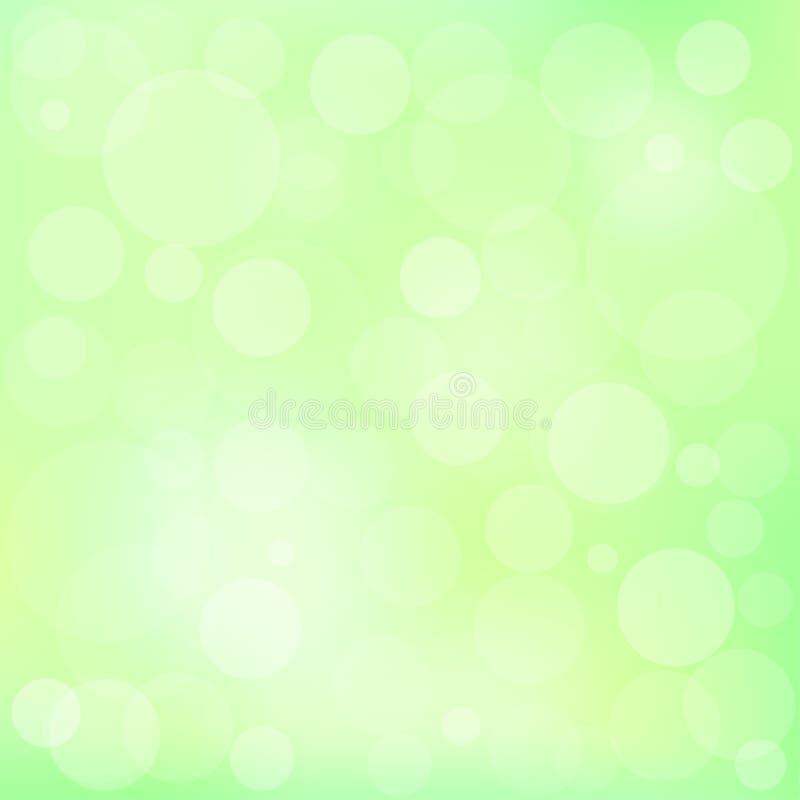 Wiosny zieleni plamy Bokeh tło ilustracji