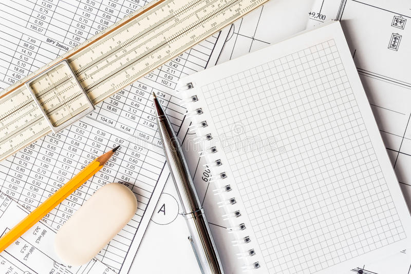 Wipe the slate clean, planning engineers and architectural works stock photography