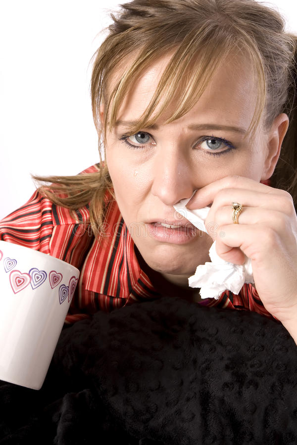 Download Wiping nose sick woman stock image. Image of fever, person - 13641881