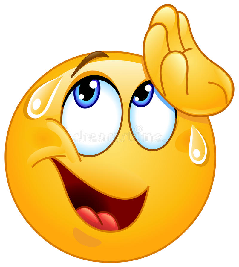 Free Wiping Sweat Emoticon Stock Photography - 83418342