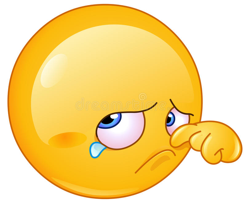Wiping tear emoticon royalty free illustration