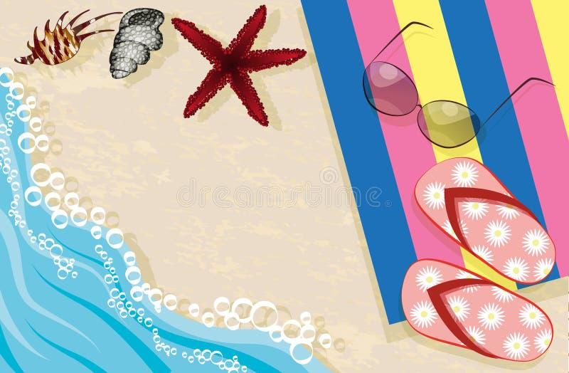Wipschakelaars, zonnebril, handdoek en shells royalty-vrije illustratie