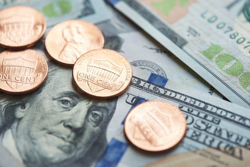 Wir Bargeld Dollar und Cents lizenzfreies stockbild