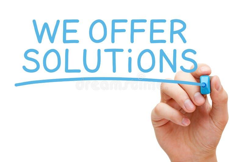 Wir bieten Lösungs-Blau-Markierung an lizenzfreie stockfotos