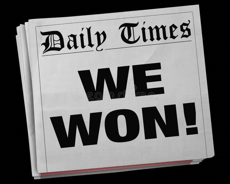 Wir gewannen großes Sieger-Spiel Victory Champion Newspaper Headline 3d IL vektor abbildung