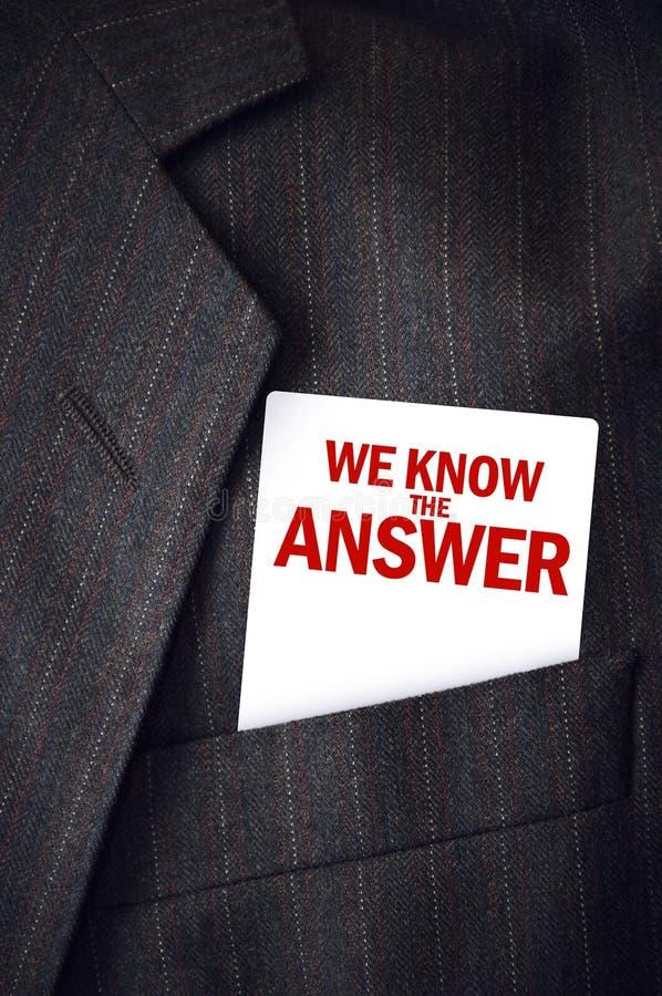 Wir kennen die Antwortvisitenkarte in der Klagentasche lizenzfreie stockfotos