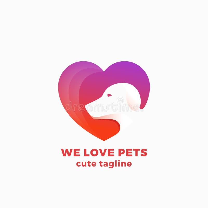 Wir lieben Haustier-abstraktes Vektor-Symbol, Zeichen oder Logo Template Negatives Raum-Hundegesicht in einer Herz-Form Modernes  lizenzfreie abbildung