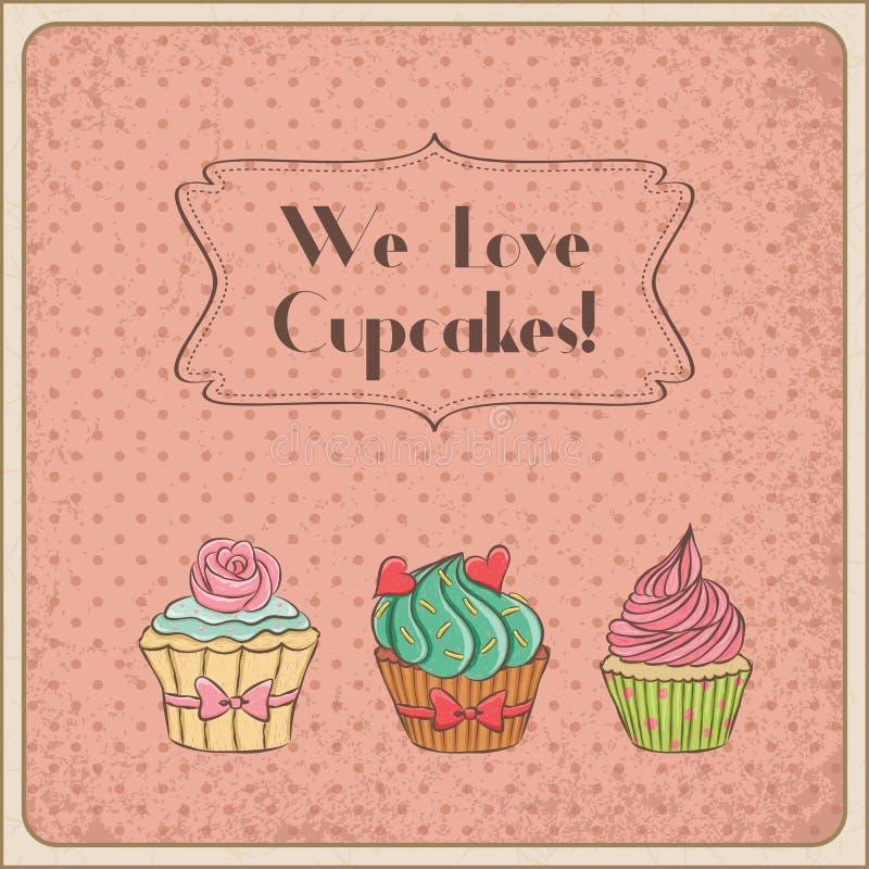 Wir lieben kleine Kuchen lizenzfreie abbildung