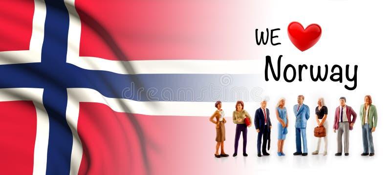 Wir lieben Norwegen, a-Gruppe von Personenen-Haltung nahe bei der Norvegian-Flagge vektor abbildung