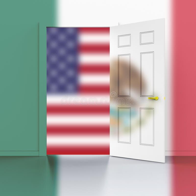 Wir Mexiko-Grenzwand, zum der illegaler Einwanderung zu stoppen - Illustration 3d stock abbildung