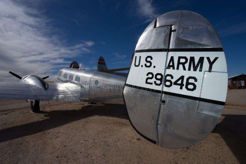 Wir Militärflugzeuge der Armeeweinlese in Tucson Arizona USA stockbilder