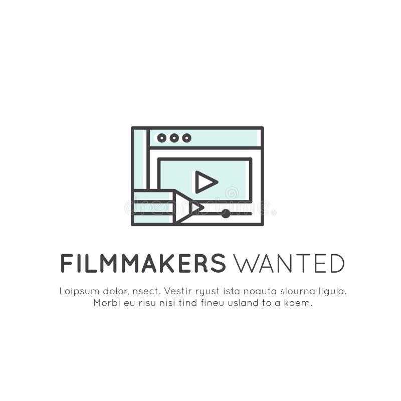 Wir sind, suchend einstellend und Internierte und junge Designer und Video oder Filmemacher! stock abbildung