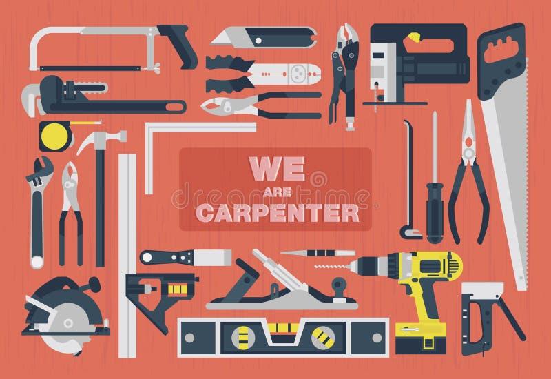 Wir sind Tischler, flaches Element der Hauptwerkzeuge vektor abbildung
