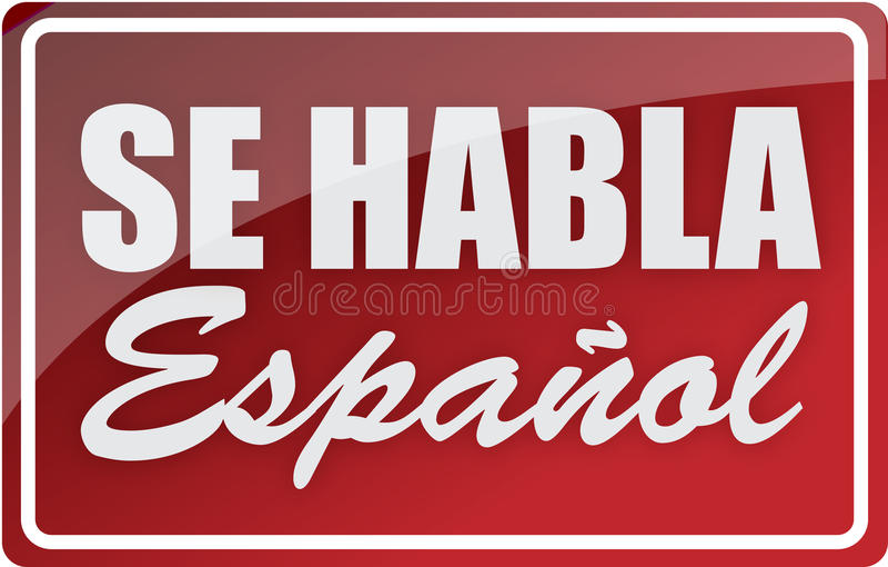 Wir sprechen spanische Zeichenabbildungauslegung stock abbildung