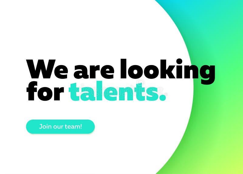 Wir suchen nach Talent-Vektor-Hintergrund stock abbildung