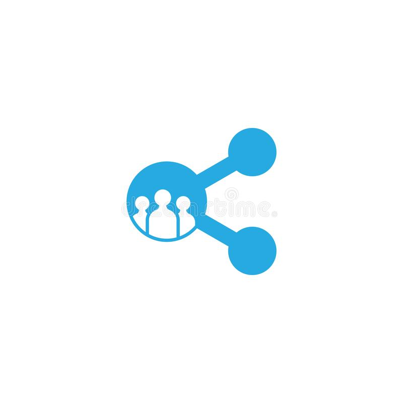 Wir teilen blaue Farbe des Logovektors lizenzfreie abbildung