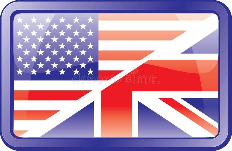 Wir und britische Markierungsfahnen-Ikone. Englisch lizenzfreie abbildung