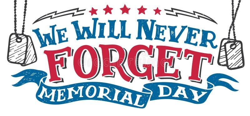 Wir vergessen nie Memorial Day -Zeichen lizenzfreie abbildung