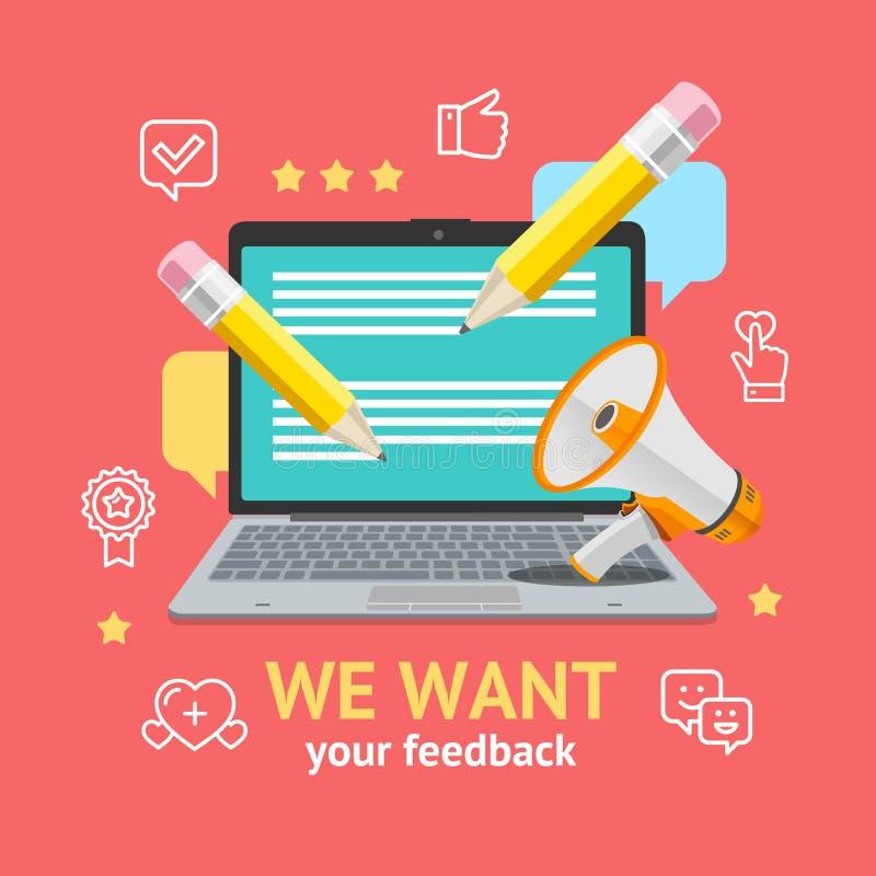 Wir wünschen Feedback-Konzept Vektor lizenzfreie abbildung