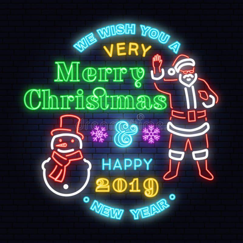 Wir wünschen Ihnen eine sehr frohe Weihnacht- und guten Rutsch ins Neue Jahr-Leuchtreklame mit Schneemann und Santa Claus vektor abbildung