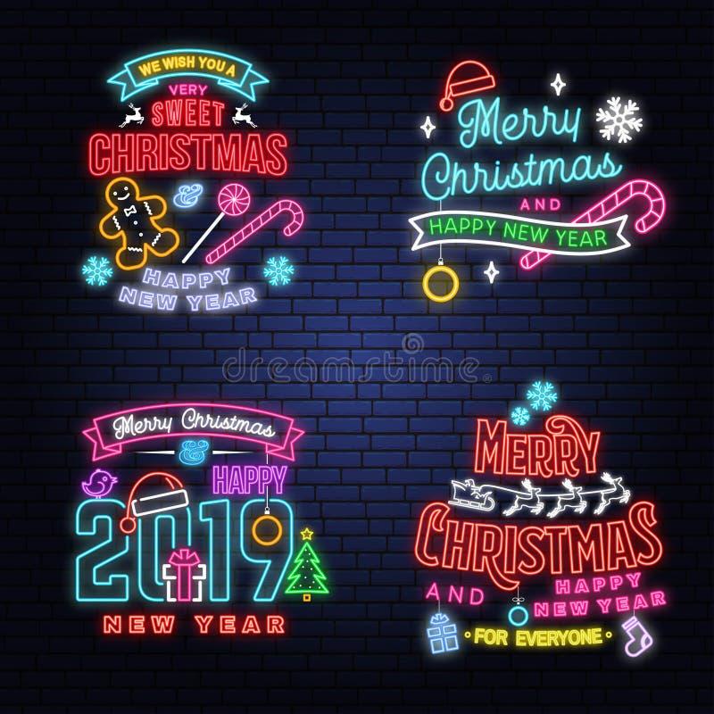 Wir wünschen Ihnen eine sehr süße Weihnachts- und guten Rutsch ins Neue Jahr-Leuchtreklame mit Schneeflocken, Weihnachtssüßigkeit vektor abbildung