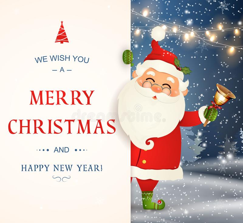 Wir wünschen Ihnen frohen Weihnachten Glückliches neues Jahr Santa Claus-Charakter mit großem Schild Fröhlicher Weihnachtsmann mi stock abbildung