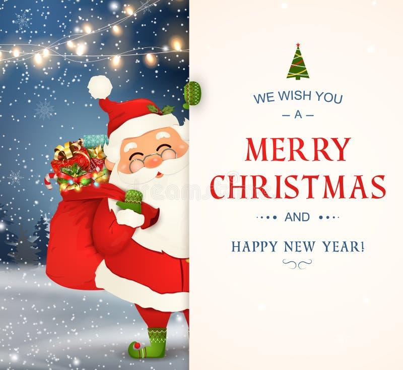 Wir wünschen Ihnen frohen Weihnachten Glückliches neues Jahr Santa Claus-Charakter mit großem Schild Fröhlicher Weihnachtsmann mi vektor abbildung
