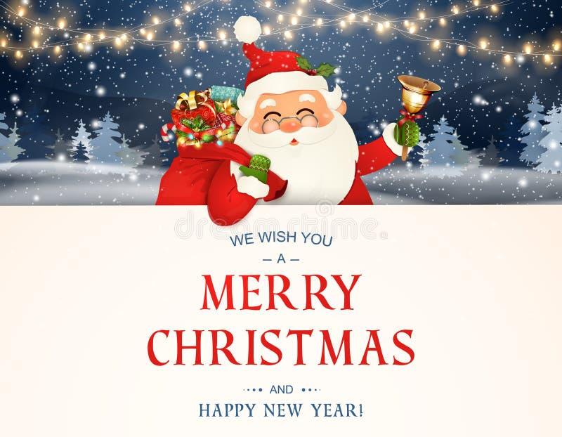 Wir wünschen Ihnen frohen Weihnachten Glückliches neues Jahr Santa Claus-Charakter mit großem Schild Fröhlicher Weihnachtsmann mi lizenzfreie abbildung