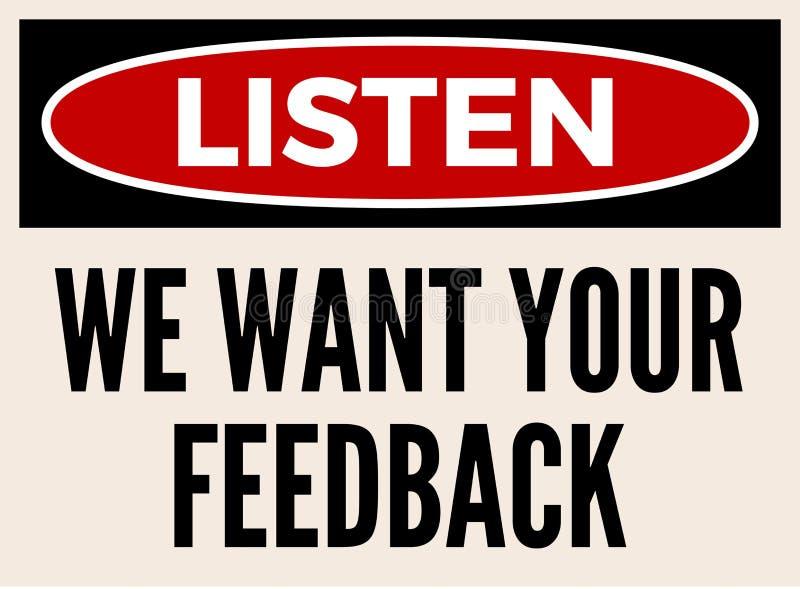 Wir wünschen Ihr Feedbackaufmerksamkeitsbrett lizenzfreie abbildung