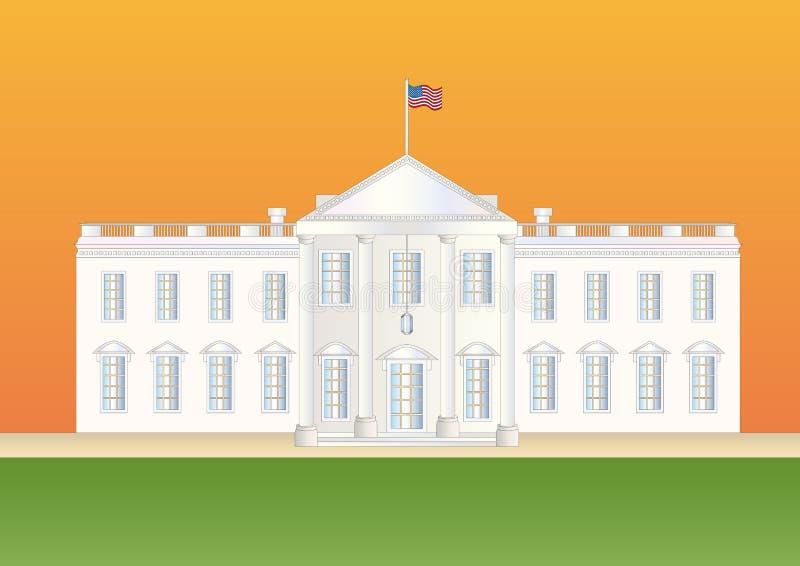 Wir weißes Haus am Sonnenuntergang lizenzfreie abbildung