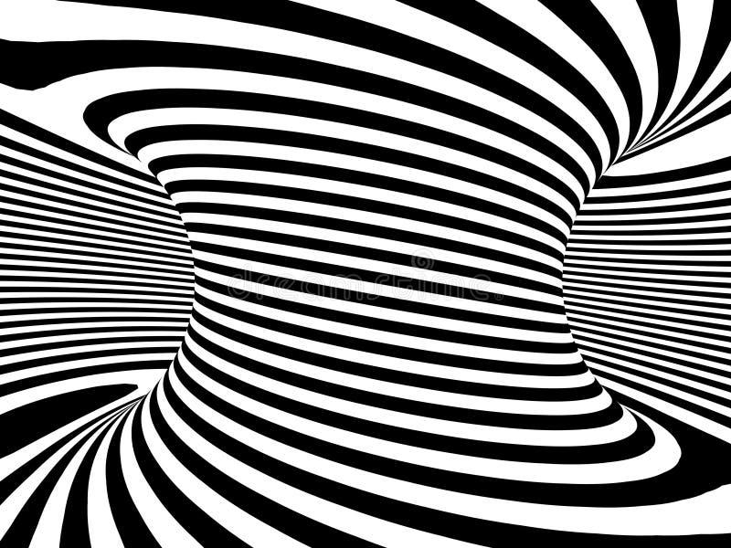 wirbelnde einfarbige Turbulenz 3d vektor abbildung