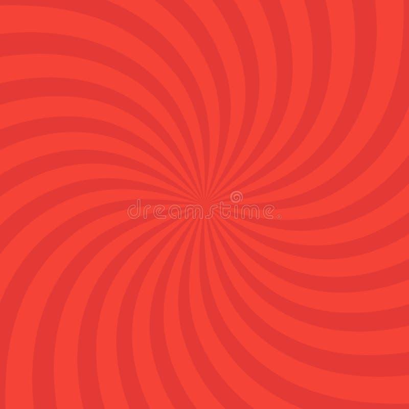 Wirbelnder heller roter Musterradialhintergrund Vektorillustration für Strudeldesign Turbulenz starburst Spiralen-Rotationsquadra vektor abbildung