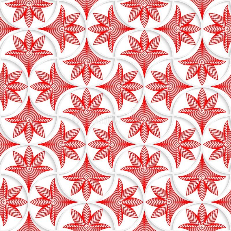 wird weißer Stift 3D Gitter mit gestreiften Blumenblättern vektor abbildung