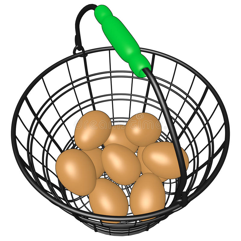 Wire Basket of Eggs vector illustration