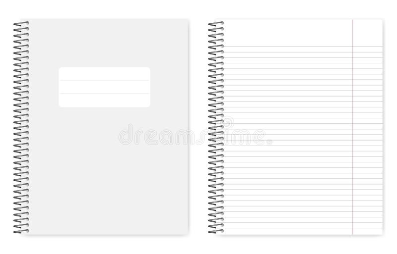 Metal spiral binding lined letter format notebook, realistic mockup. Wire bound lined notebook, realistic vector mockup. Metal spiral binding note book, mock up stock illustration