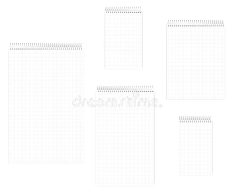 Wire bound notebook with squared paper sheets set, mockup vector illustration
